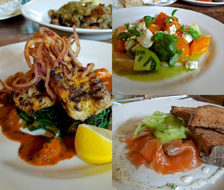彩り美しいサラダ、魚介類のメインも充実