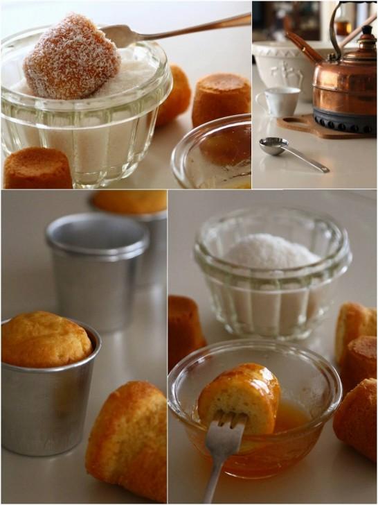 ダリオール型で焼いたスポンジ生地をジャムとココナッツでコーティング