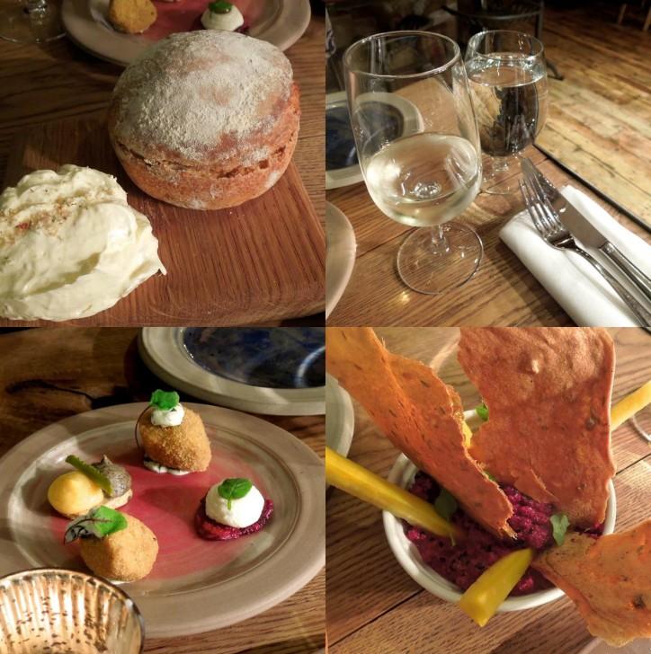 左上から時計回りにスコーン&クロテッド・クリームみたいな自家製パン、自営ヴィンヤードで醸造した白ワイン、ビートルートのディップ、「Mouthfull」と名付けられたカナッペ