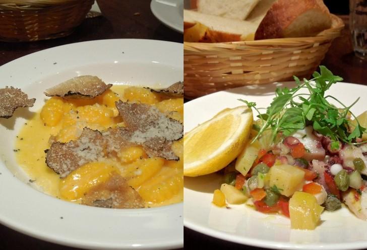 アラカルトから選んだタコとダイス・ベジタブルのサラダとポテトニョッキのトリュフ風味!