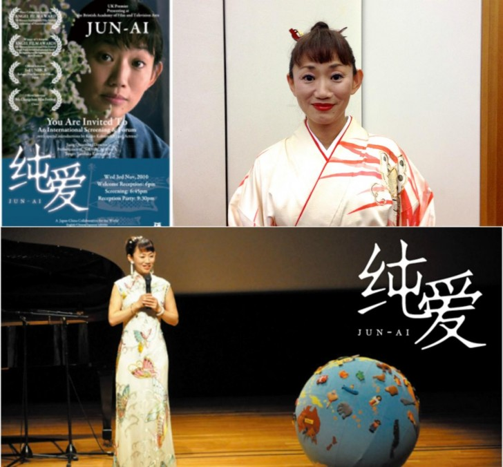試写会での小林桂子さん(右上)。下の写真はオフィシャルHPから拝借しました