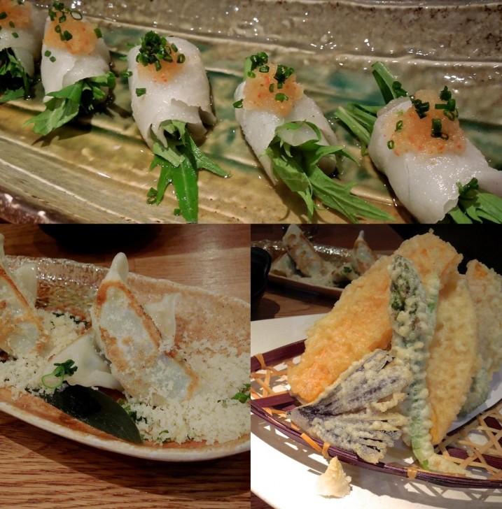 天ぷら、餃子はOK、白身魚のカルパッチョはちょっと水っぽかったかも