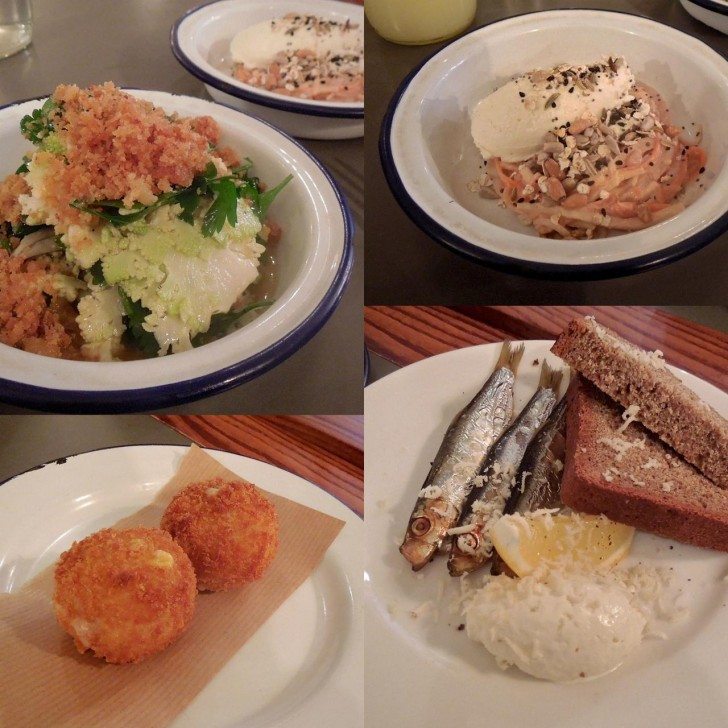 左上から時計回りにロマネスク・ブロッコリーのサラダにクランブルをトッピングしたもの、シャキシャキ野菜のヘルシー・スローほどよい塩加減に干されて美味だったメザシみたいな見た目のスプラッツという魚+ソーダ・ブレッド、大きなハムホックのかけらが入ったコロッケ☆