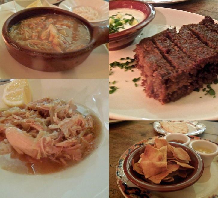 レバノンの家庭料理は、このご飯にかけるチキン・スープのように胃にやさしいものが多い。右上はビーフとラムのケバブ風。しら触りがよくコクのある味わいはヨーグルトと良く合う