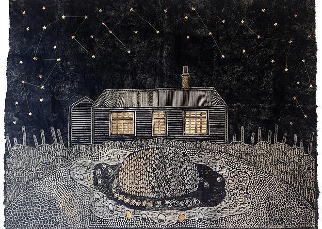 中村菜都子さんによる版画「プロスペクトコテージ」