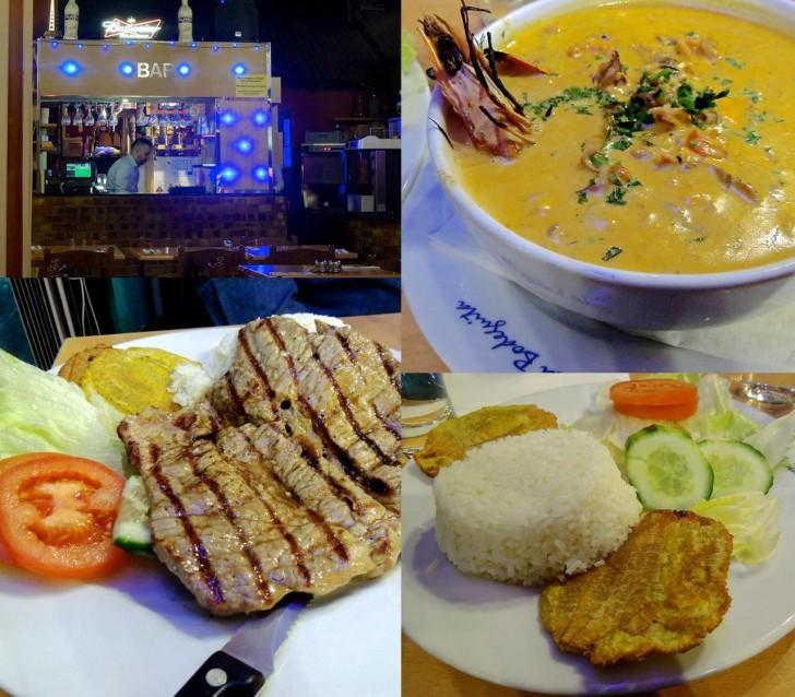 食べ応えある魚介のスープ(右上)はライス&プランテインのフライ付き