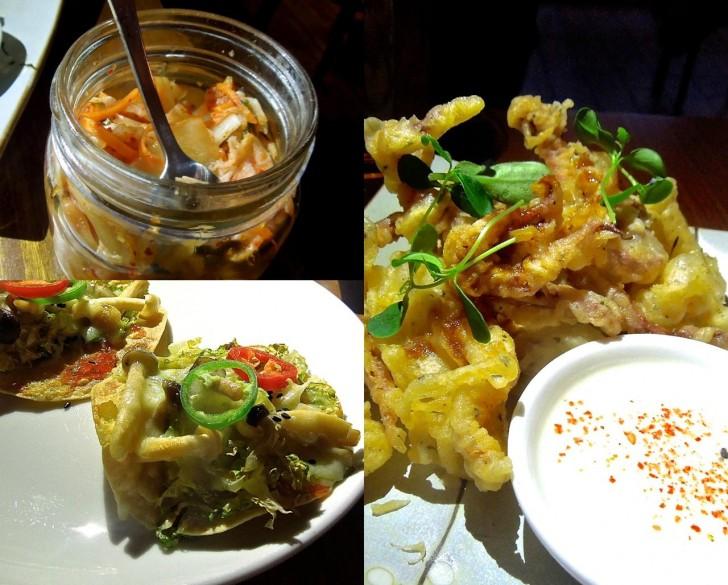 カラマリ・フライ、マッシュルームのタコス、キムチ・・なんてとりとめのない料理・・