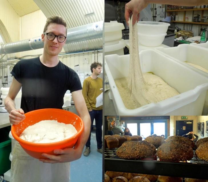 奥のキッチンに案内してくれた知り合いのパン職人、ルーク君。いろんなパン種があるのだ!