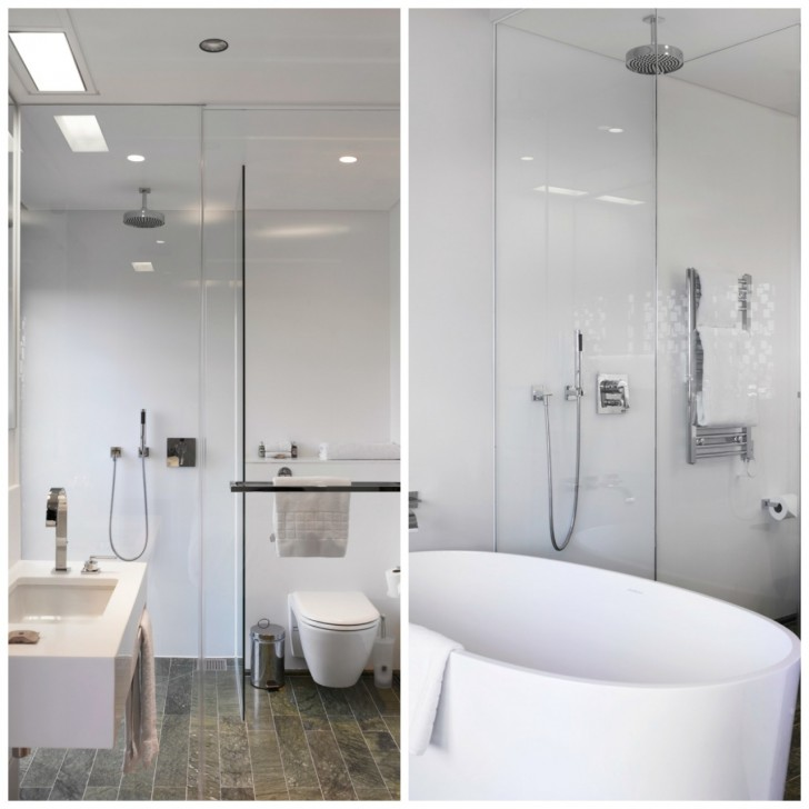 モダンなバスルーム。バスタブ付きの部屋とシャワーのみの部屋があり