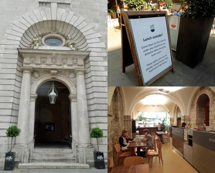 教会の地下聖堂を利用したカフェは、ロンドン市内にはいっくつかありますが、ここはオリジナルのひとつ
