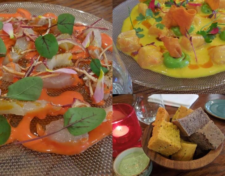 サーモンのセビーチェとティラピアのティラビートはセット・メニューの前菜。パンは美味しいが塩味きつめ