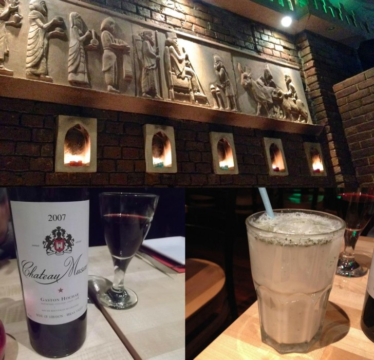 塩味のヨーグルト・ドリンクと、レバノン産ワイン