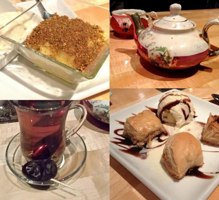ライス・プディング、バクラヴァなど定番デザートとお茶。美味しいデーツをお茶請けに☆