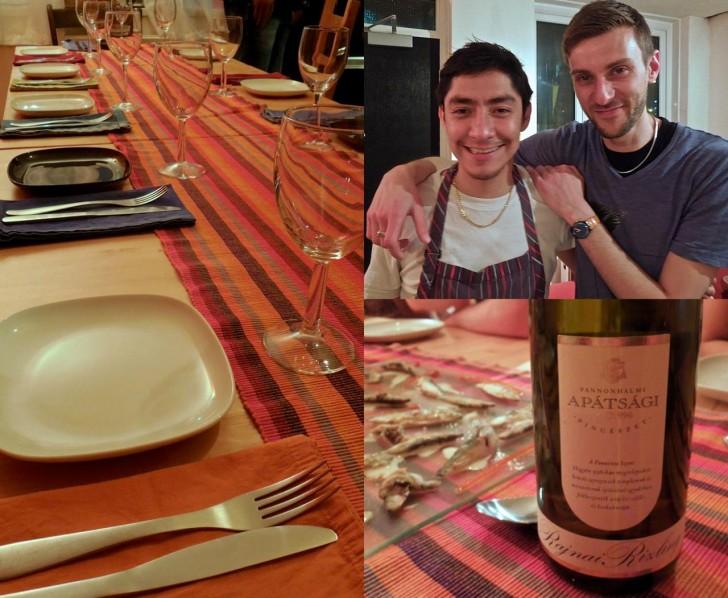 本日のシェフ、ロブさん(左)とアシスタント君。下は友人が持ってきてくれたハンガリー産のリースリング。料理にぴったりでした♪