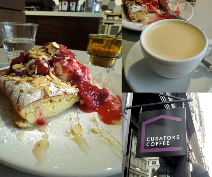 形の残ったイチゴのコンポート、グリーク・ヨーグルトと一緒に食べるフワフワのアーモンド・パンケーキ♪