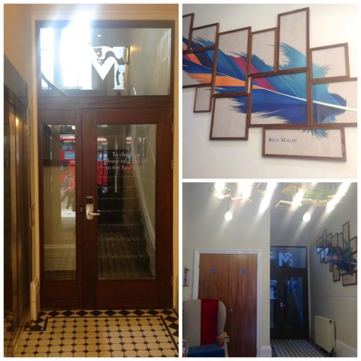 入り口付近。個性的なアートの装飾。部屋へ続くドアは宿泊者のみ利用可能