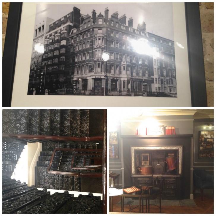 趣のある階段とビクトリア時代から残る暖炉。1943年の写真が残っているが、その当時もホテル(別経営者)と銀行が建物として使われていた
