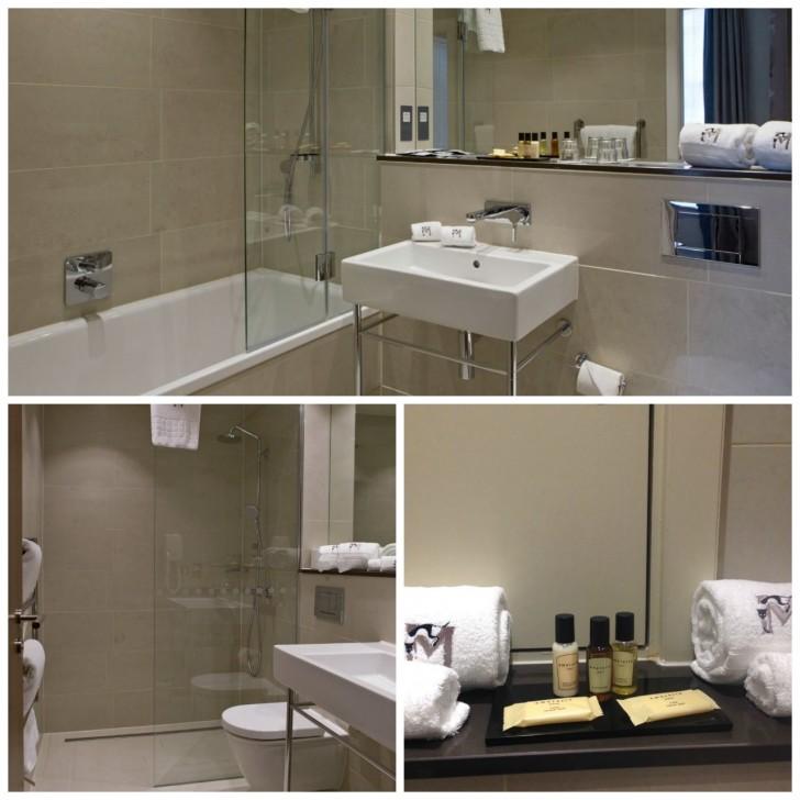 モダンなバスルーム。バスタブ付きとシャワーのみの部屋があり。ふかふかした肌触りの良いタオルと充実したアメニティー