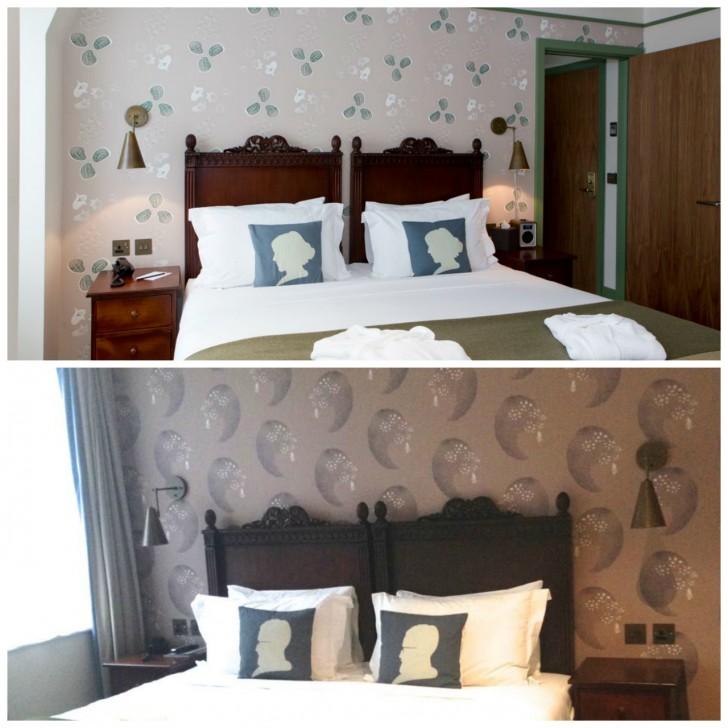 壁紙とベッド