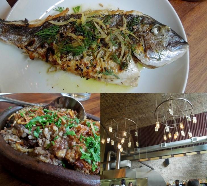 ハーブがよい仕事をしている魚の炭火焼き。左下はエジプト風の炒飯だけど味はいまひとつ