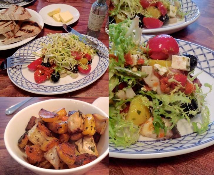 ギリシャ風のタコのサラダやエスニック風味のスープなど、リーズナブルなメニューが並びます