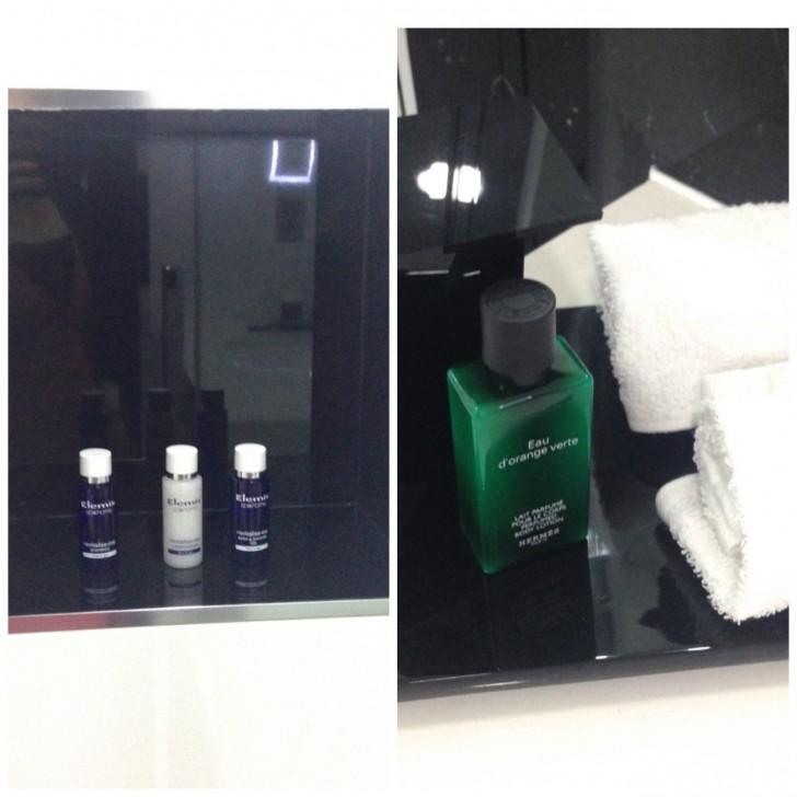 上質アメニティーはイギリスの代表的なラグジュアリースパ・スキンケア ブランドのElemis toiletries(Deluxe ルーム)か、憧れのHermês (Club ルーム以上)
