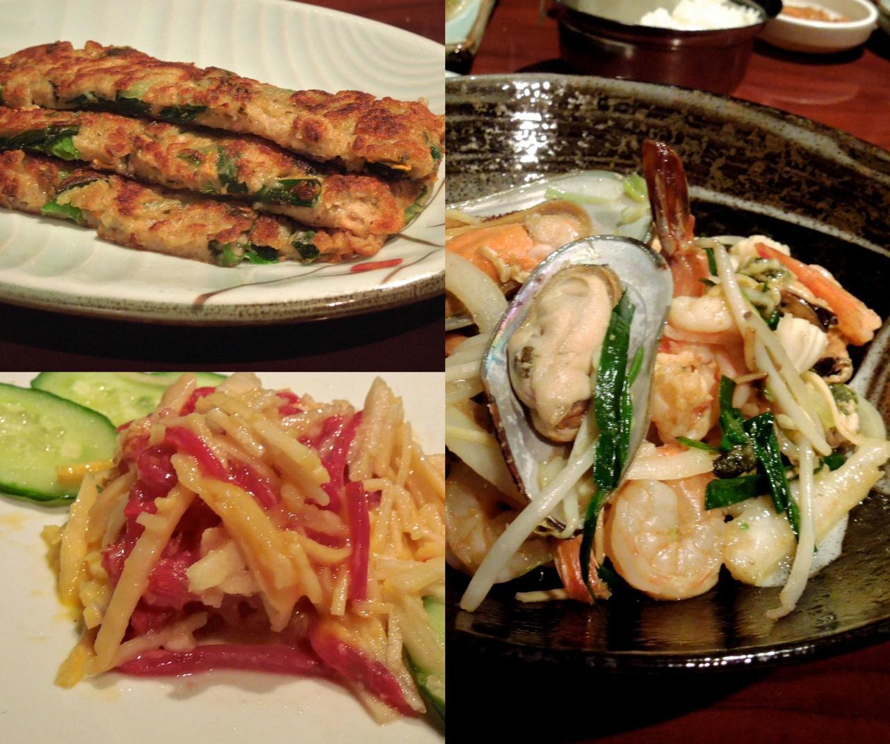 チヂミは撃沈、が、海鮮ヌードルは美味しい☆ さてユッケのお味は・・・