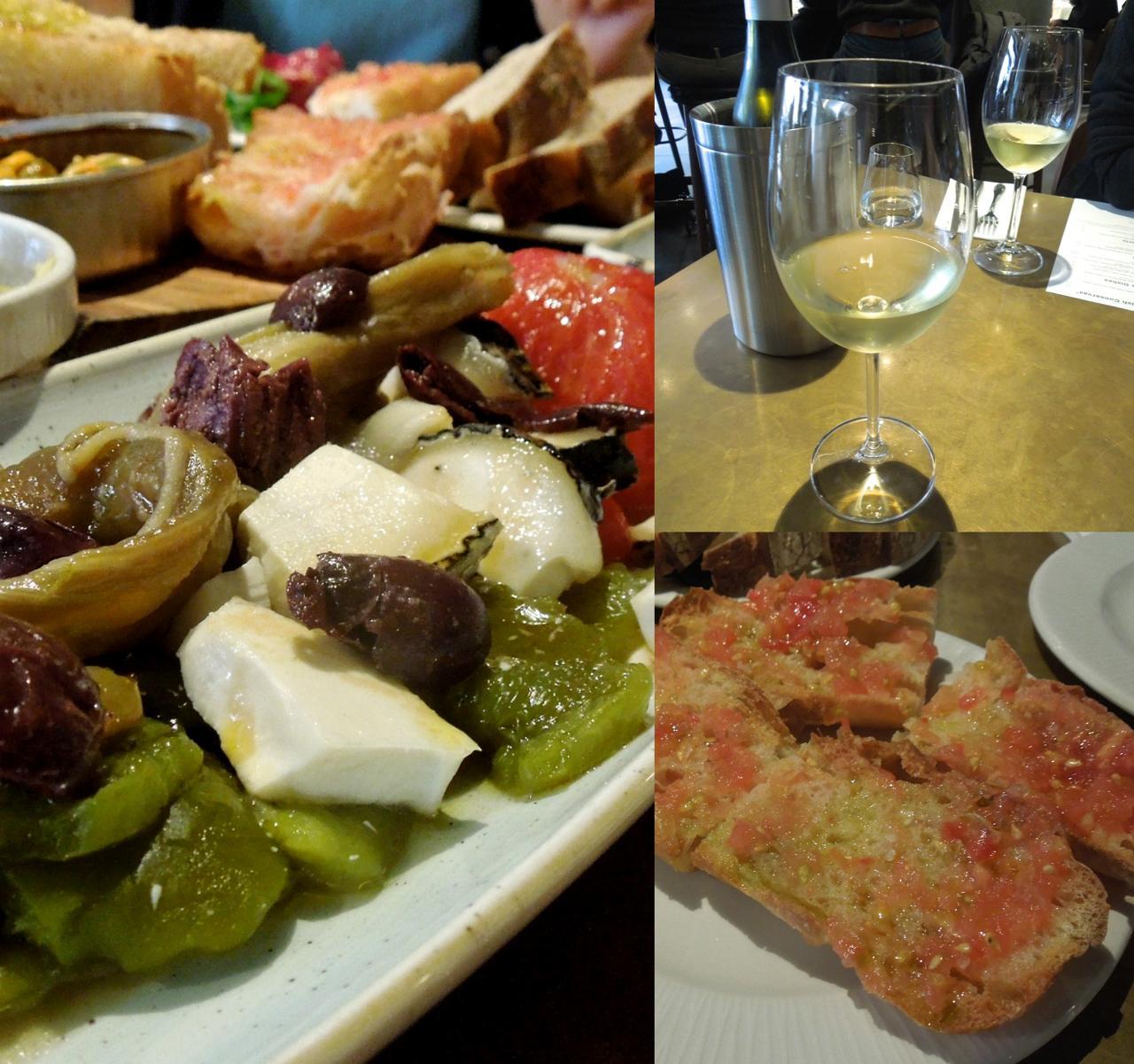 丁寧に仕上げられたグリル野菜はオリーブとチーズをアクセントにして。パン・コン・トマトも伝統の味☆
