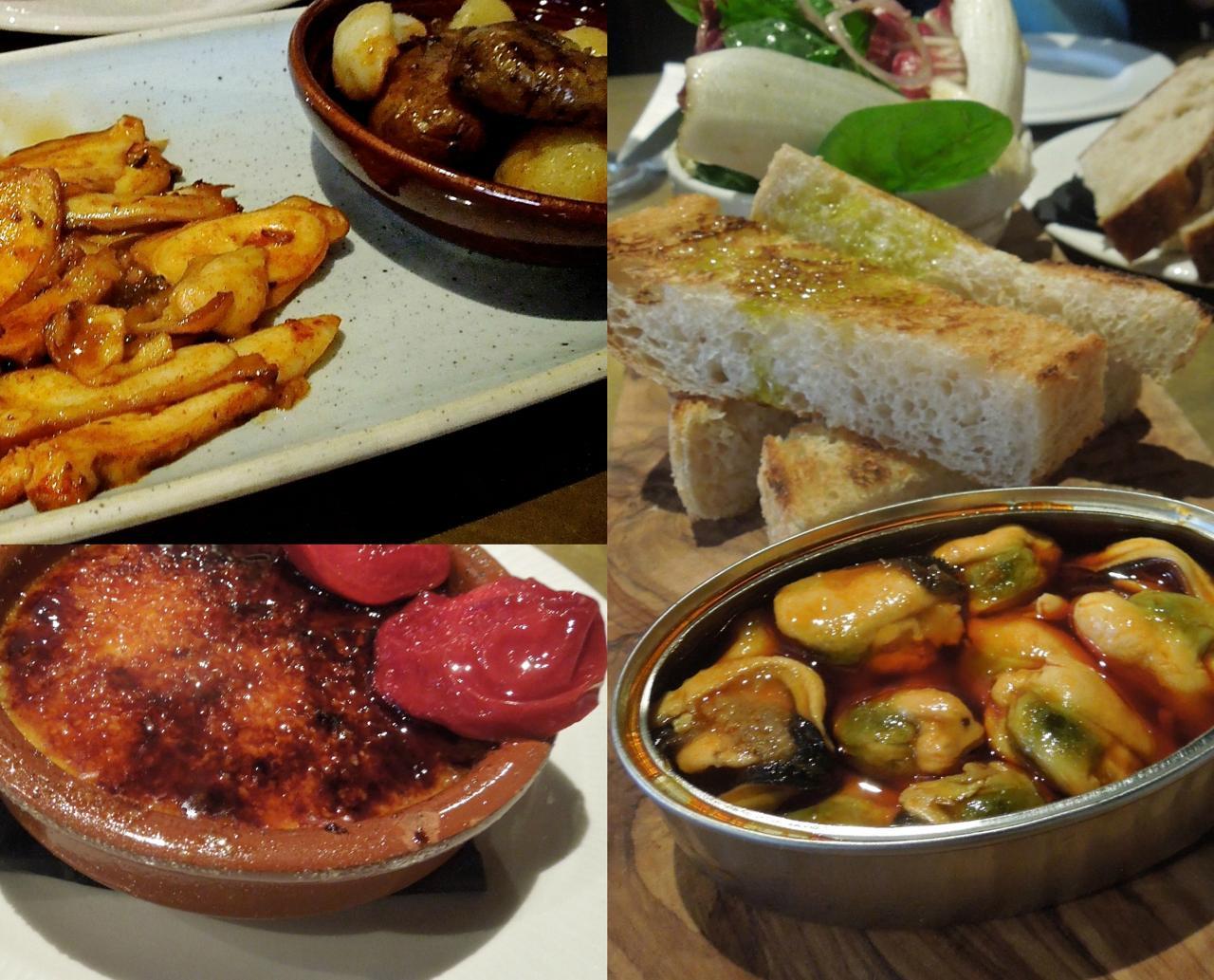 ムール貝を頼んだら、今流行りの自家製缶入りで、パンとサラダが添えられてきた左上はタコのグリル、ベイビー・ポテト添え、左下がTocino de Cielo