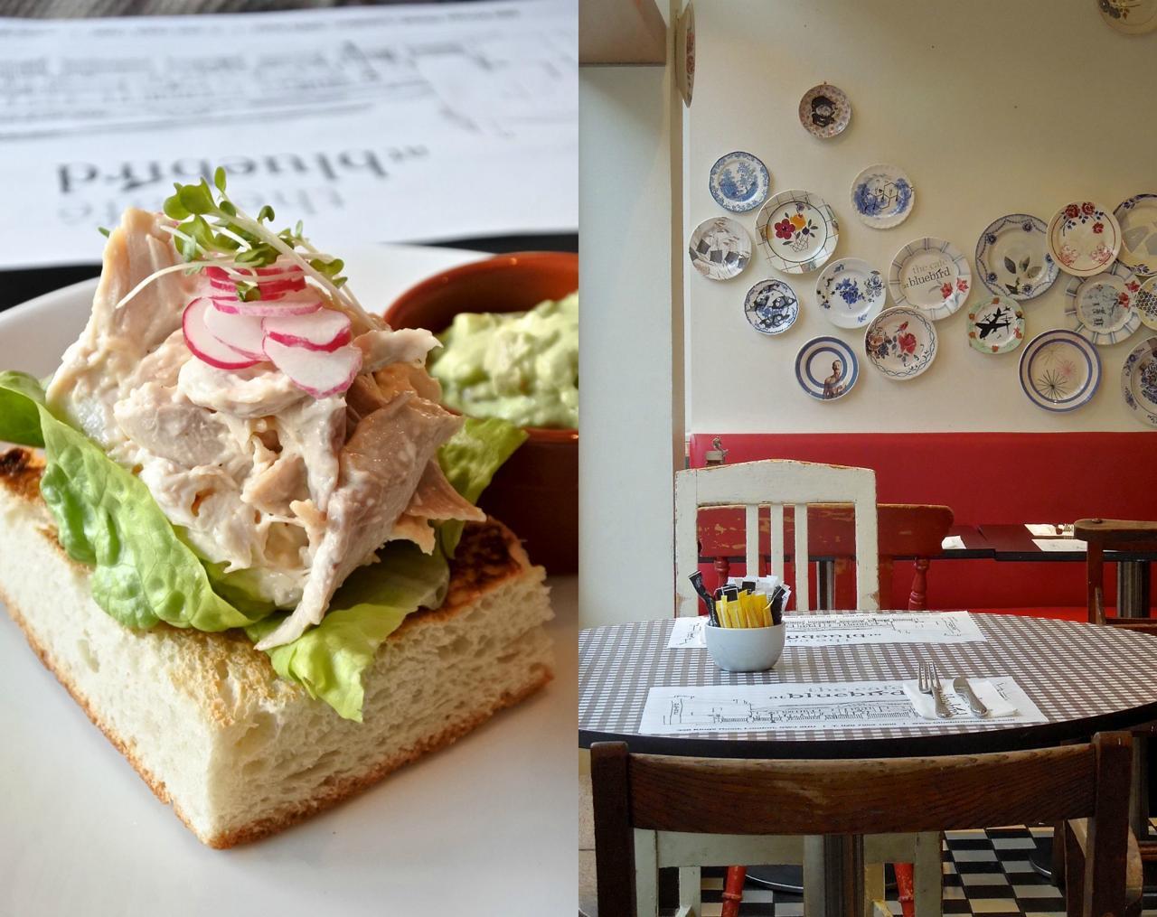 ヘルシーなチキンとアボカドのオープン・サンドイッチはフォカッチャ・ベースで。