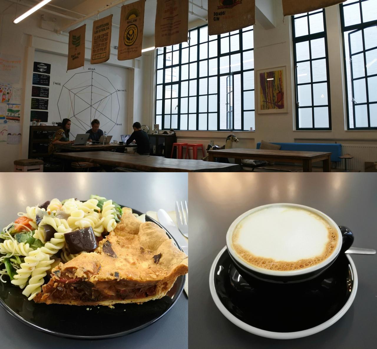 根菜のパイはパイ生地がサクサクで美味しかったです♪ 奥はビル内のオフィスで働く人達のミーティング・スペースとしても利用されているみたい
