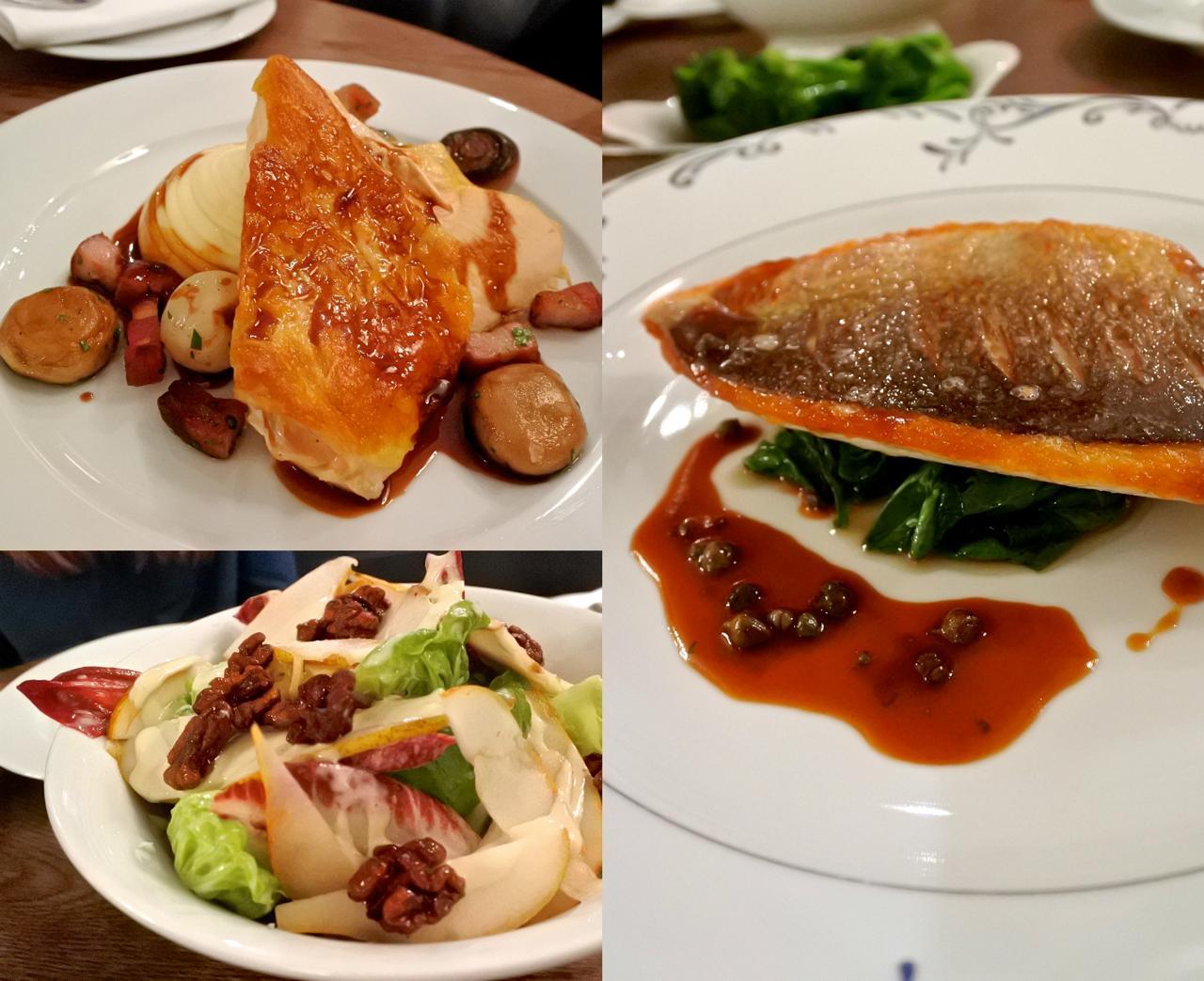 こちらはビストロのメニュー。左上から本日の皿、チキンとマッシュポテト、鯛のソテーとホウレンソウ、洋なしとロックフォールのサラダ