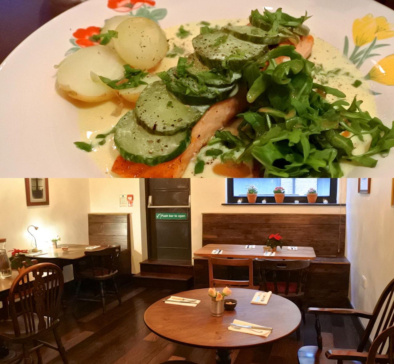 サーモンのグリル、ビネガーがきいた野菜と一緒に食べるとほどよいお味に☆ 美味しくいただきました
