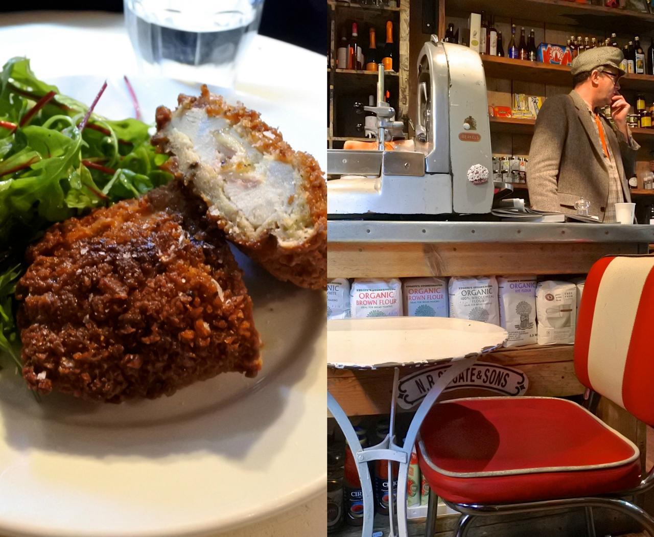 ハムとチーズを挟んだイタリア風チキンカツが日替わり☆ 美味しかったです♪右の写真にちらと写っているのがチャーリーさん。帽子がトレードマーク