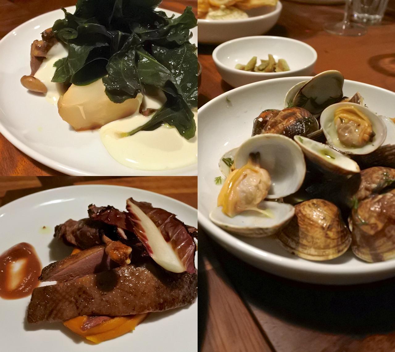 レモン・ソルト・ソースでいただくグリルしたアサリ(右)、セロリアックのロースト(左上)、鴨肉のソテー(左下)