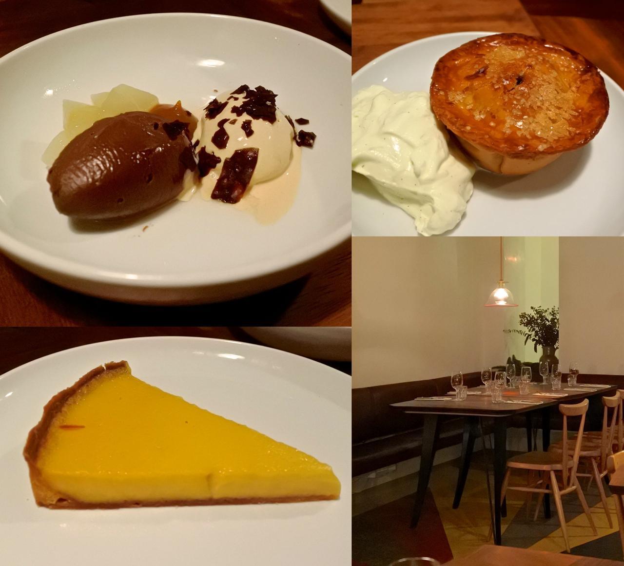 デザートははずれなし。左下はハニー・タルト、左上はチョコレート・ムース、右上がミンス・パイ☆