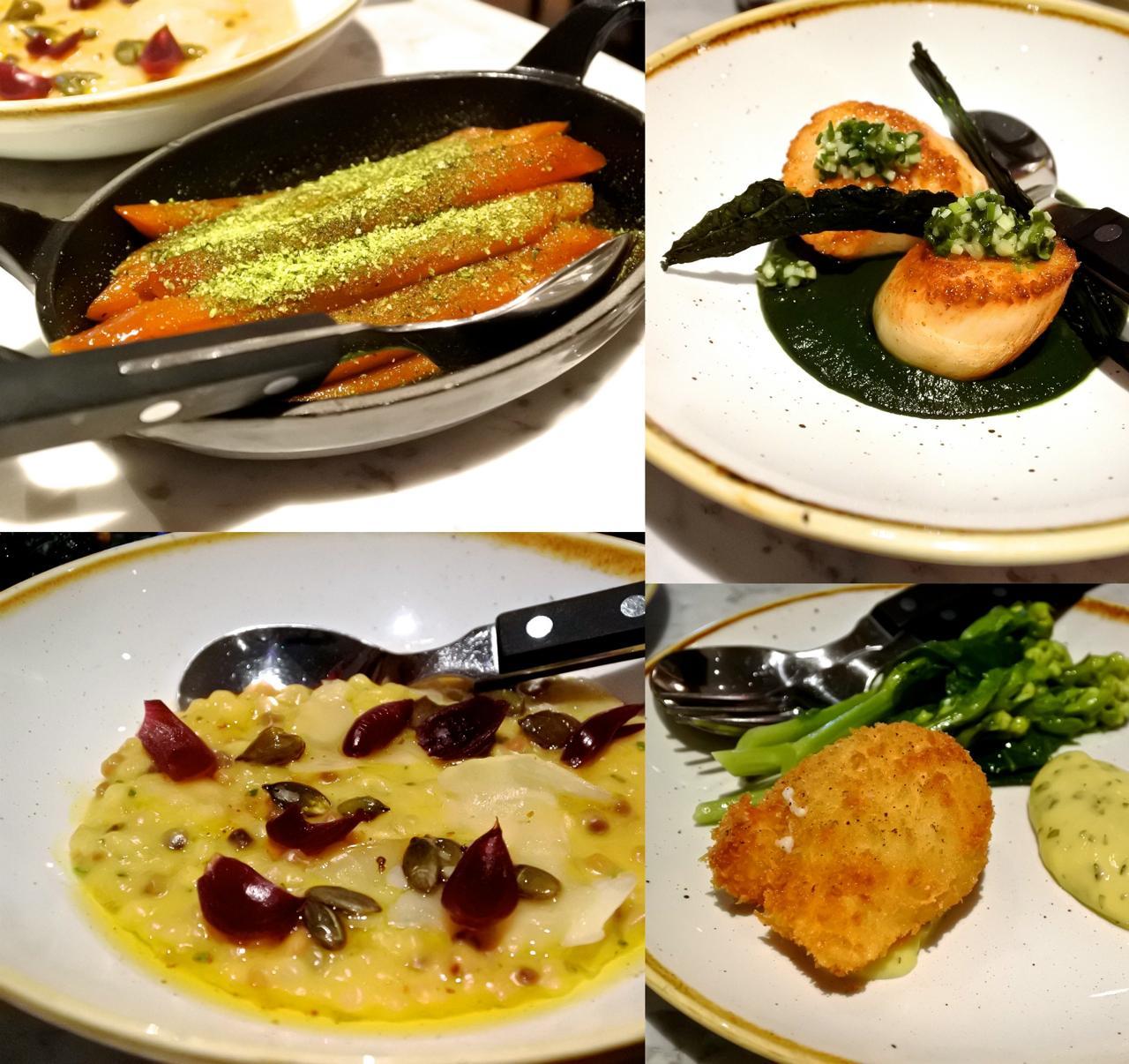左上から時計回りにサルシフィ(牛蒡みたいな野菜)のグレーズ、ホタテのカルボ・ネロ・ソース、ホワイト・ブロッコリーとポーチド・エッグのフライ、パール・バーリーのパンプキン・リゾット。どれも文句なく美味しい。そして、これだけ野菜料理を丁寧に作れるジュンさんを尊敬!
