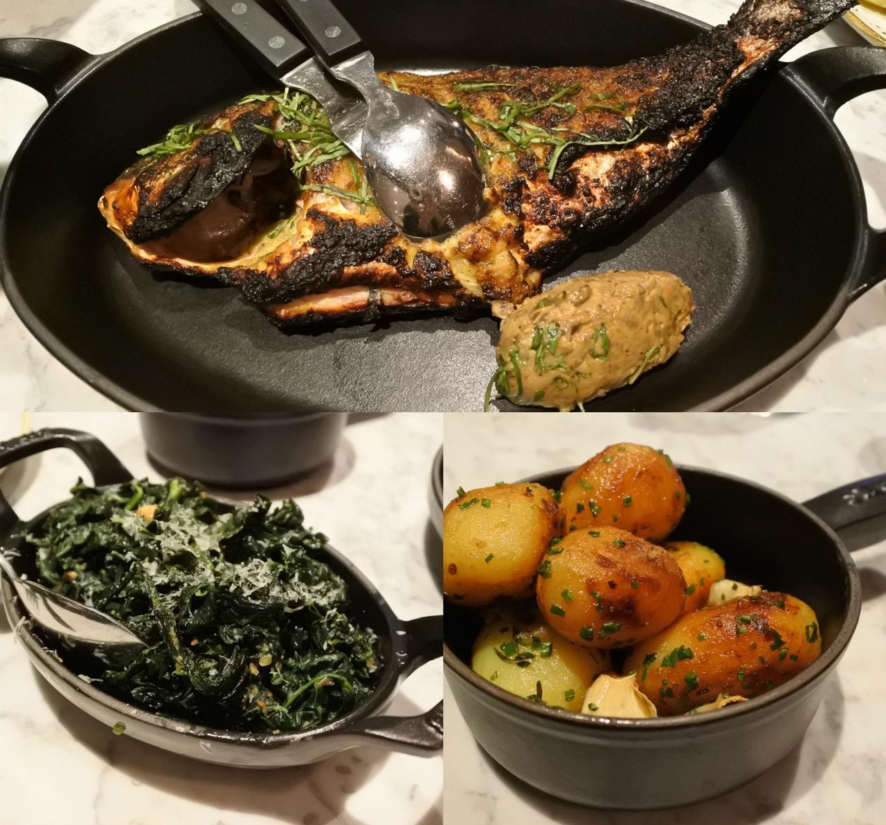 尾頭付き鯛のロースト(上)、ヘーゼルナッツのペスト・ソースで味付けしたカーボロ・ネロ(左下)、ポテトのフライ(右下)