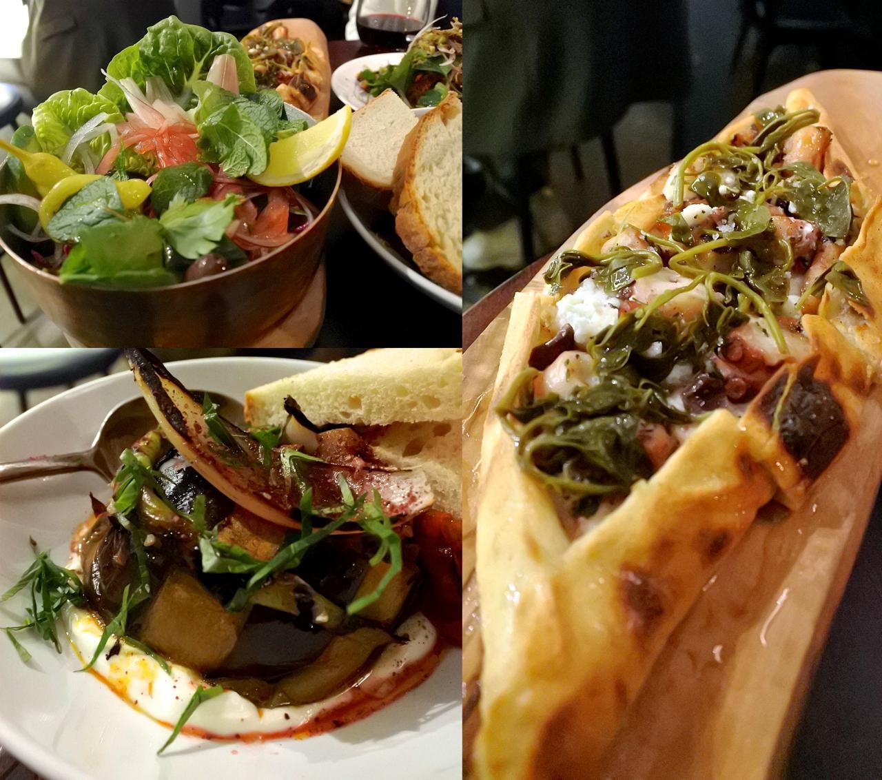 タコとリコッタのピデはハチミツも少しかかっているので、甘辛好きな方におすすめ。ピクルス&サラダも丁寧な下ごしらえが好印象(左上)。左下はナスの野菜料理