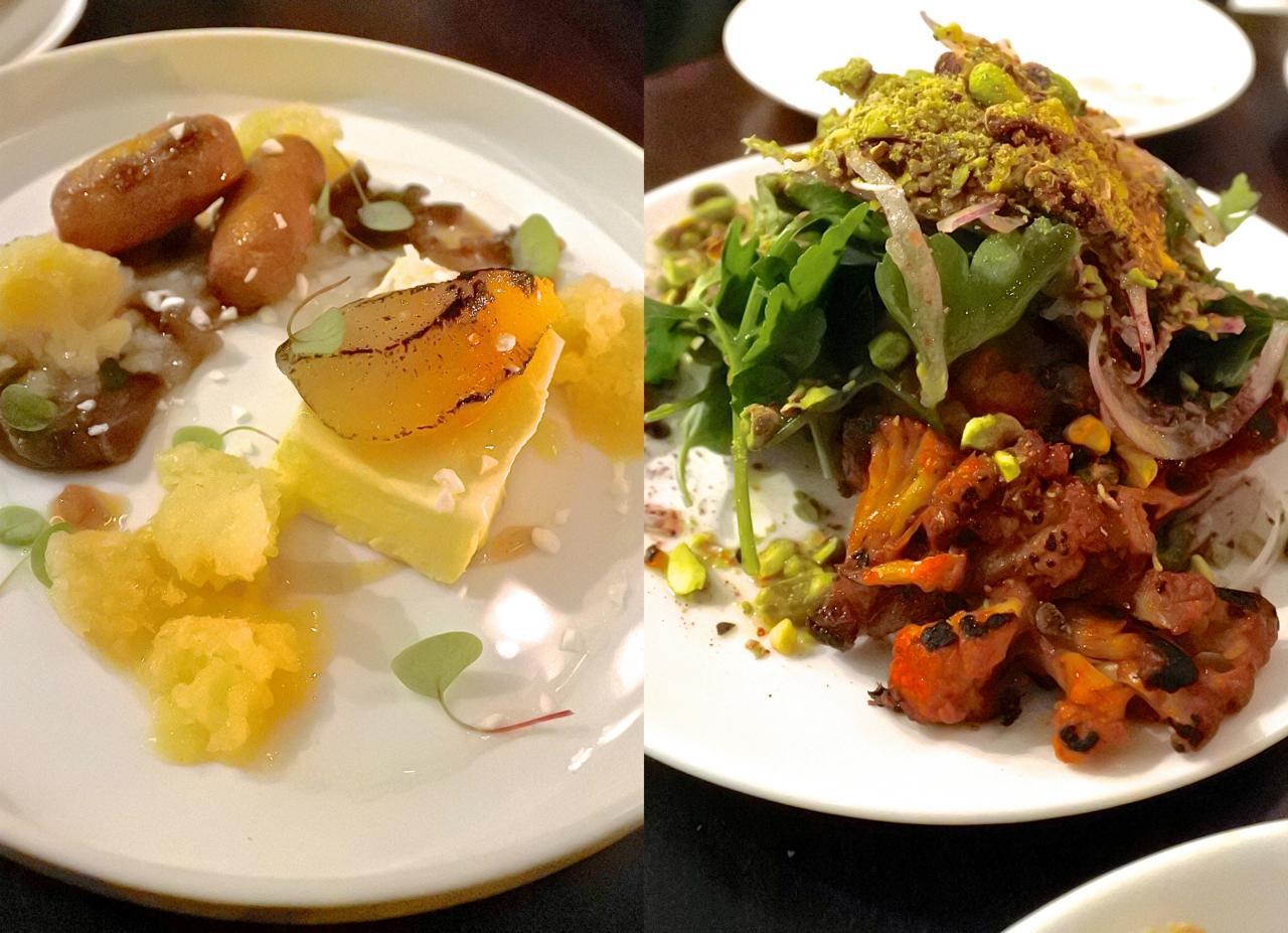 右はスパイシー・カリフラワーのサラダ。他の素材との組み合わせもいい。左が洋なしと栗のフレーバーを組み合わせたパフェ(アイス)デザート。美味なり