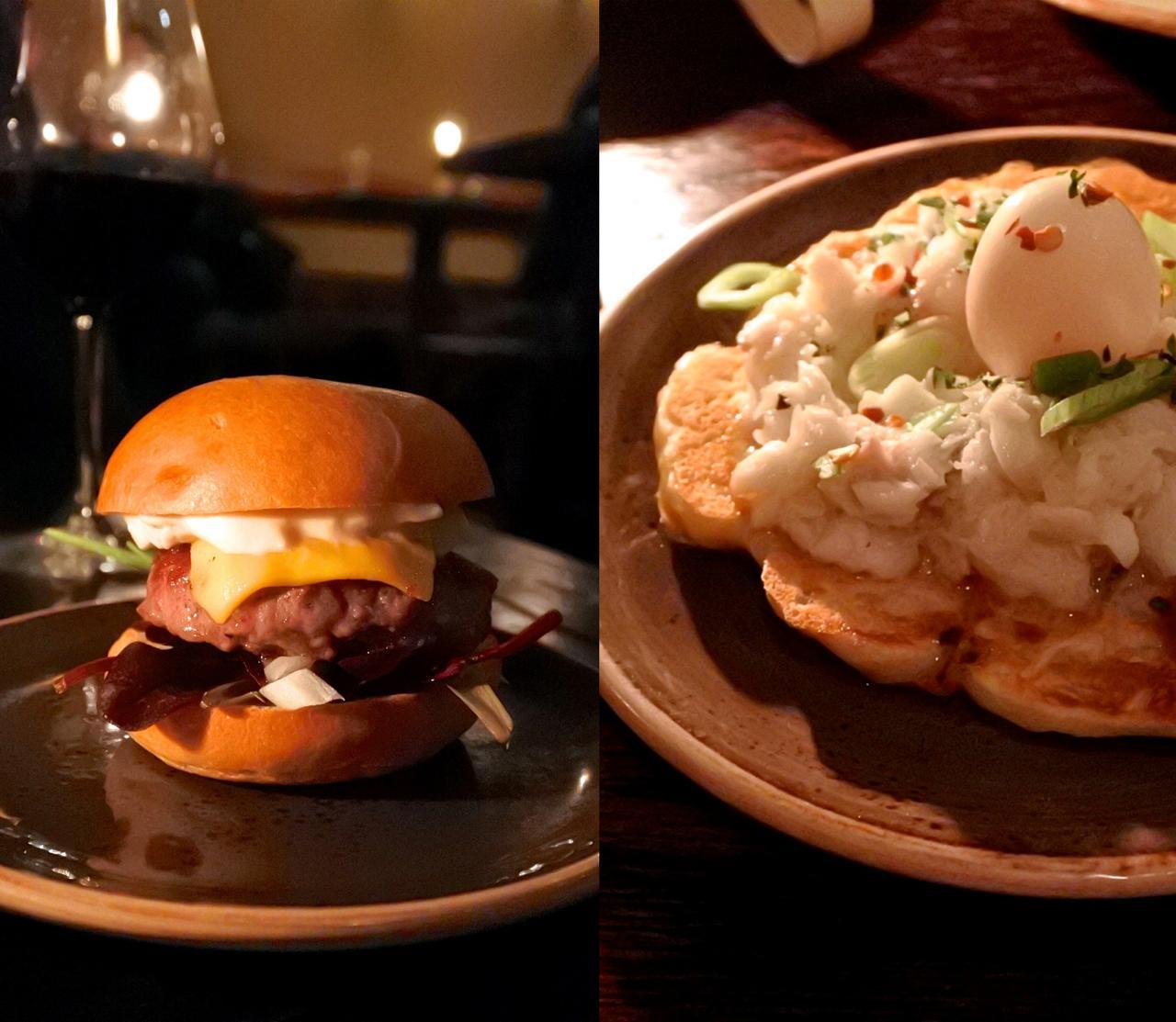 右がヘイクのピルピルのトルティーヤ、左は注文した鴨胸肉がなくなってしまった代わりに提案されたミニ・ポーク・バーガー。ナチュラルなお味でそれなりに美味しかったけれど、何か味のアクセントがほしいかも。