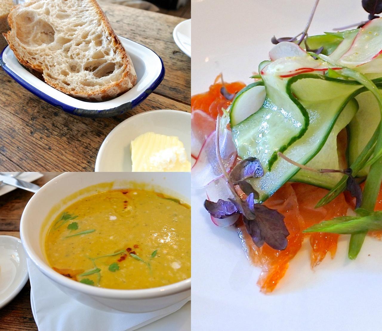 右がマヌカ・ハニーを使ってマリネしたサーモン。左下がラクサ風のスープ。でもエスニックというよりは、ちゃんと西洋風のスープでしたよ ^^