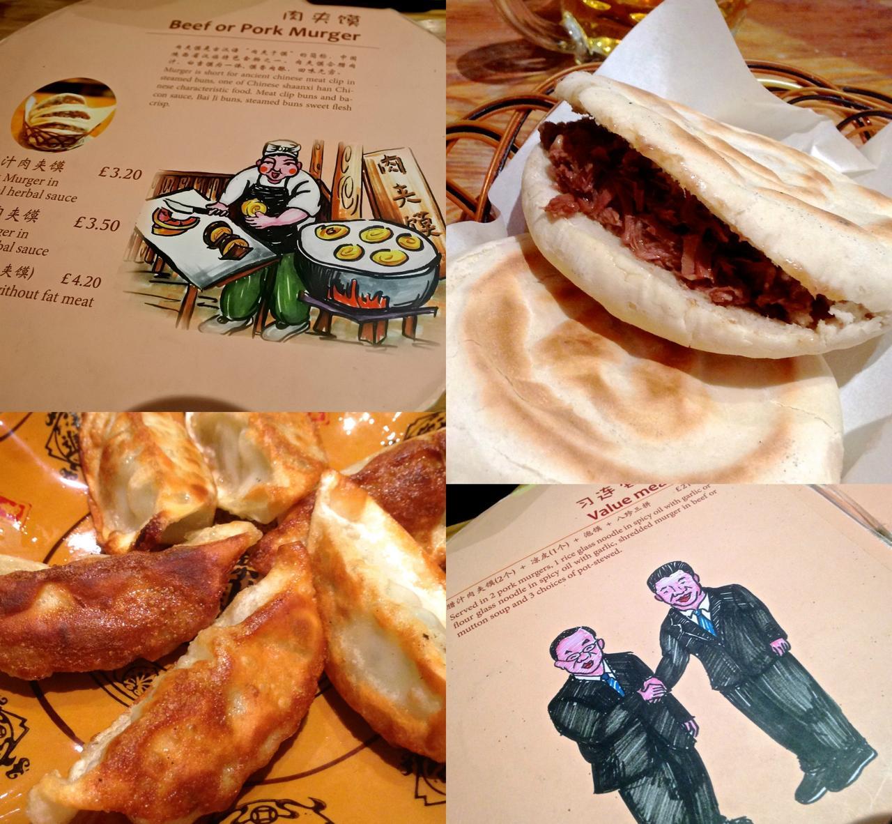 メニューのイラストにユーモアが感じられる当店、マーガー(右上)の肉餡は少し塩気が強いですが、試してみる価値あり。左下はチキン餃子。日本のものとそっくり。てか、我々のが輸入品!?
