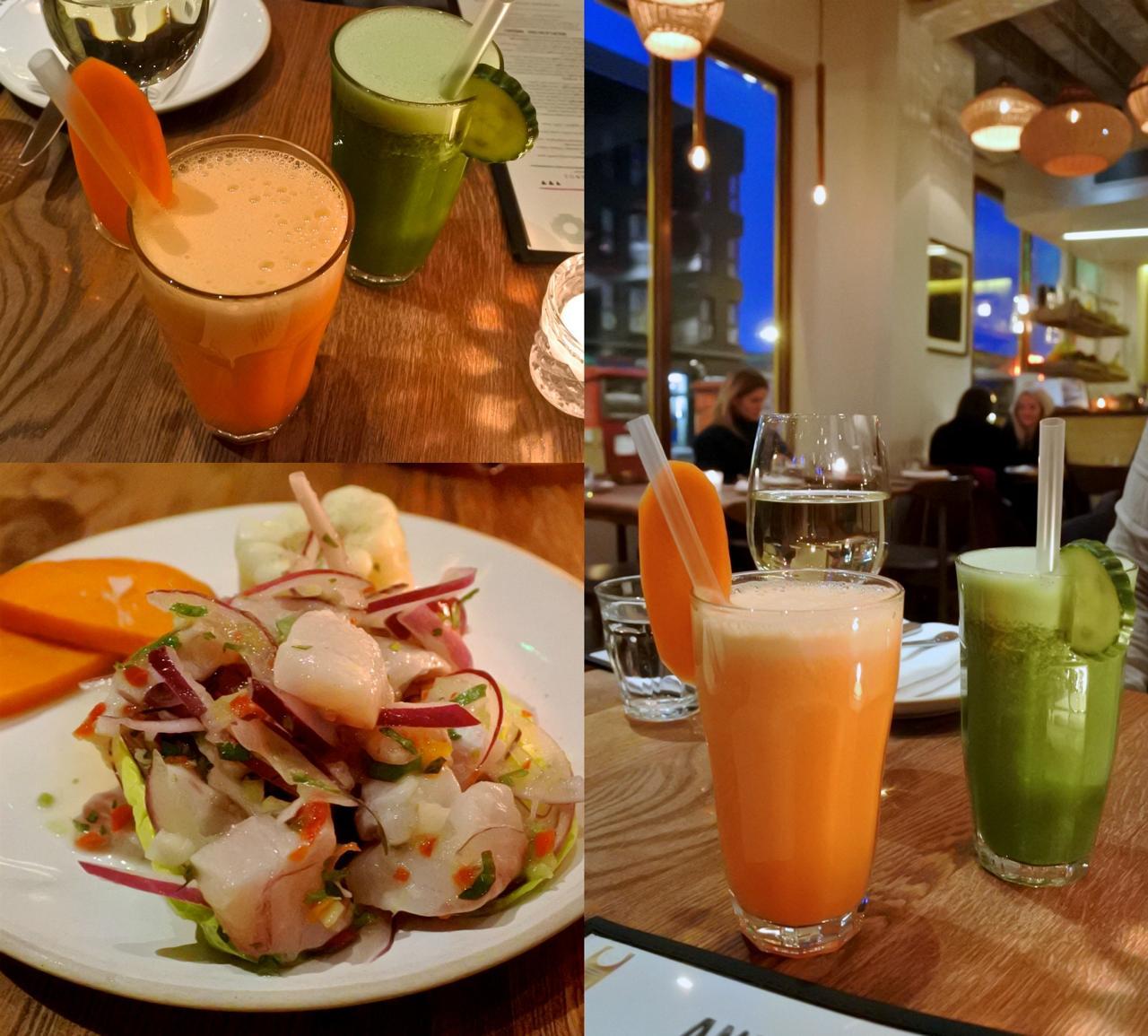 カラフルなフルーツ&野菜ジュースは朝食メニューにもあり☆ 左下はシーバスのセビーチェ