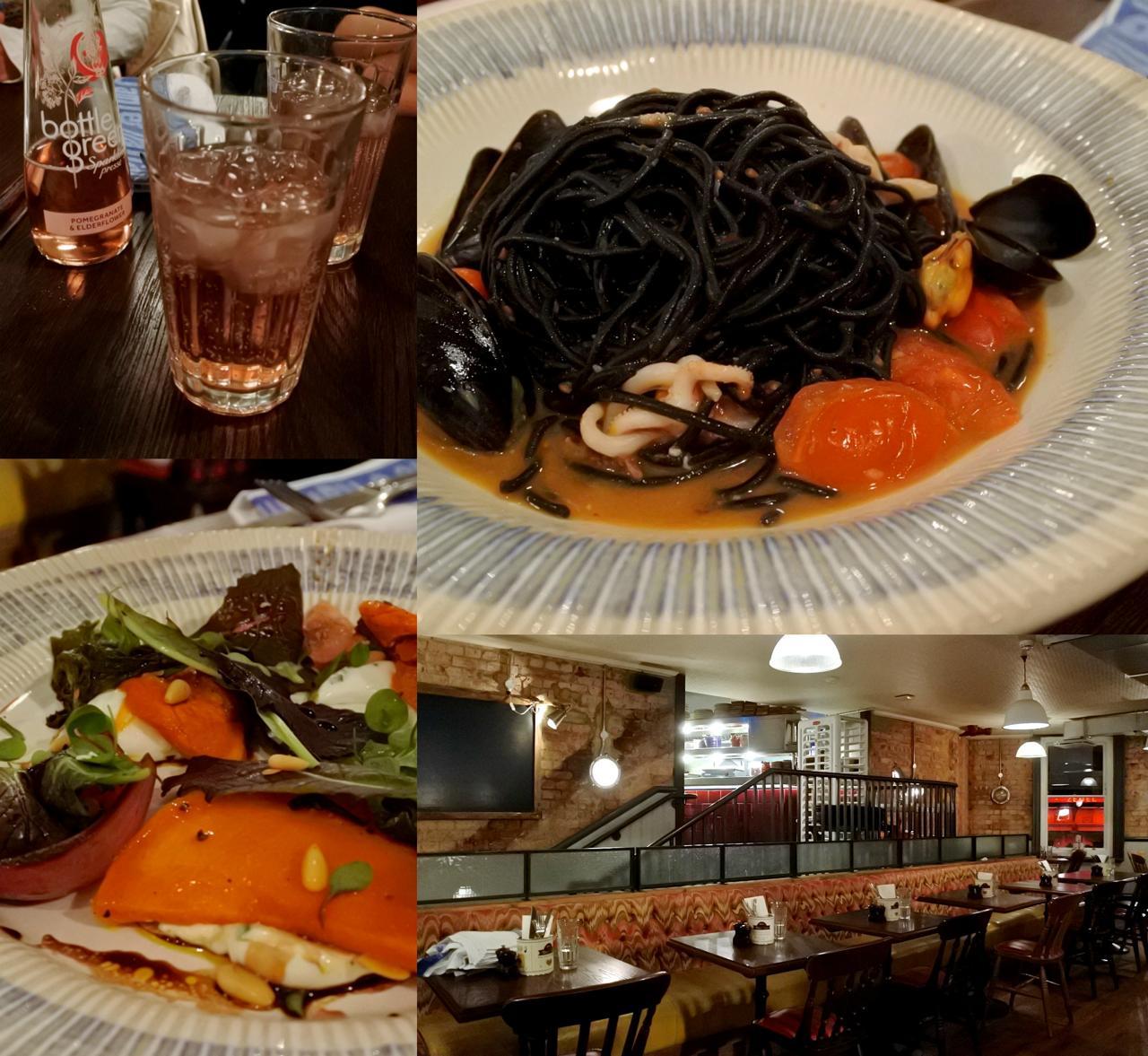 イカとムール貝のイカスミ・スパゲッティはソースの出汁がグッド♪ ロースト・パンプキンとゴート・チーズのサラダはふつー