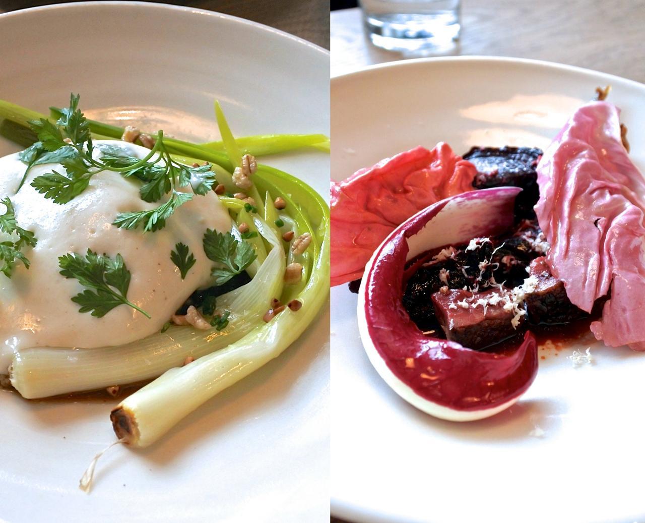 左はネギとポーチドエッグ、右はラディッキオとビートルートのサラダ。それぞれに工夫あり♪