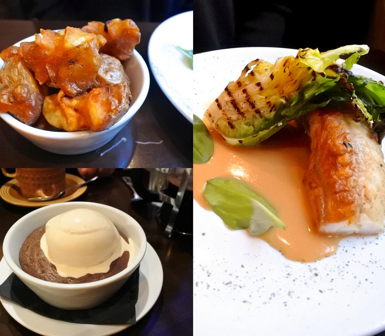 モンクフィッシュは焼き具合が少しドライだったかも。左上がピンク・ファー・アップルという品種のポテトをパリパリに揚げたサイドです