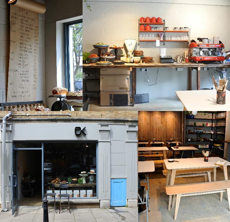 こちらはカフェ空間。昼どきになるとサラダやパスタなどが並びます