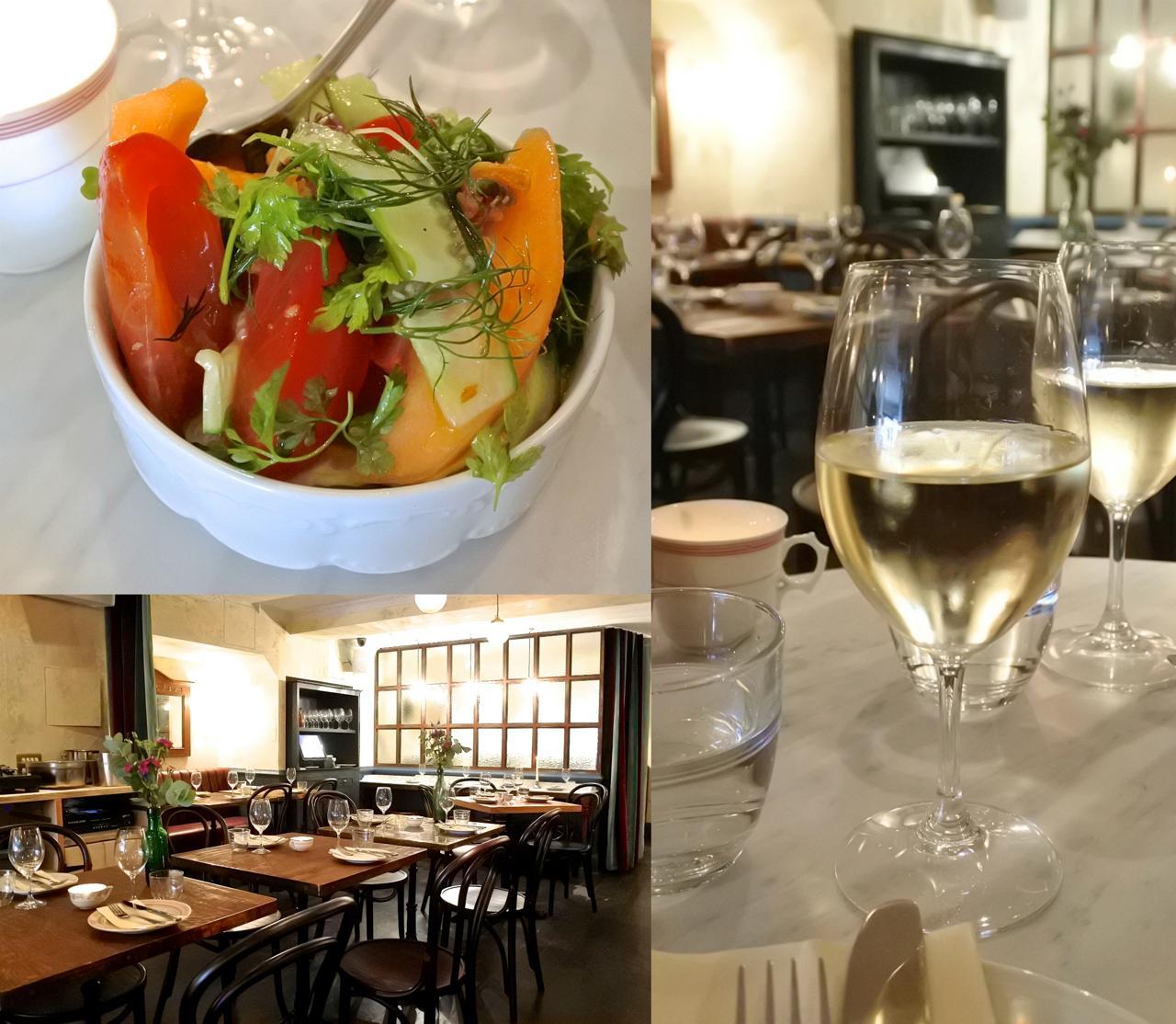 ヘリテージ・トマトとメロンのサラダ。新鮮でドレッシングもうまい!  ここのハウスの白はオススメ☆