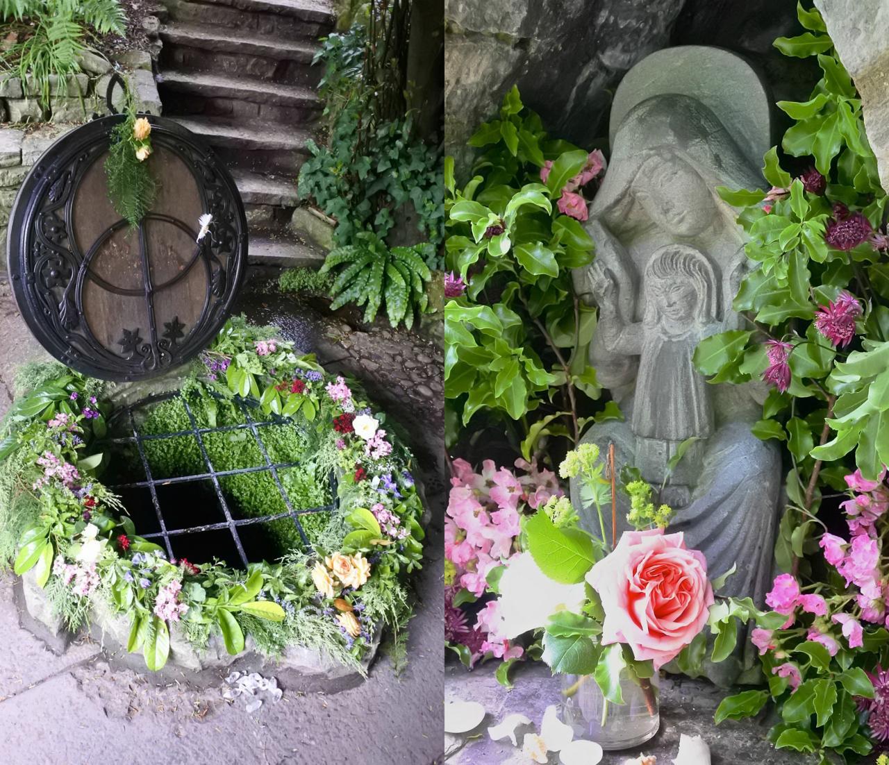 チャリス・ウェルの井戸と、聖母子像
